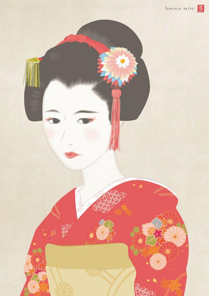 赤い着物を来た舞妓 maiko art kawakami tetsuya