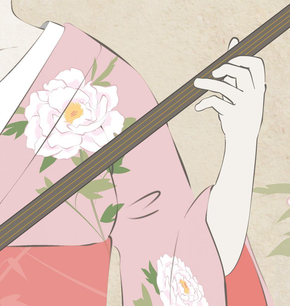 三味線を弾く舞妓さん アート 絵