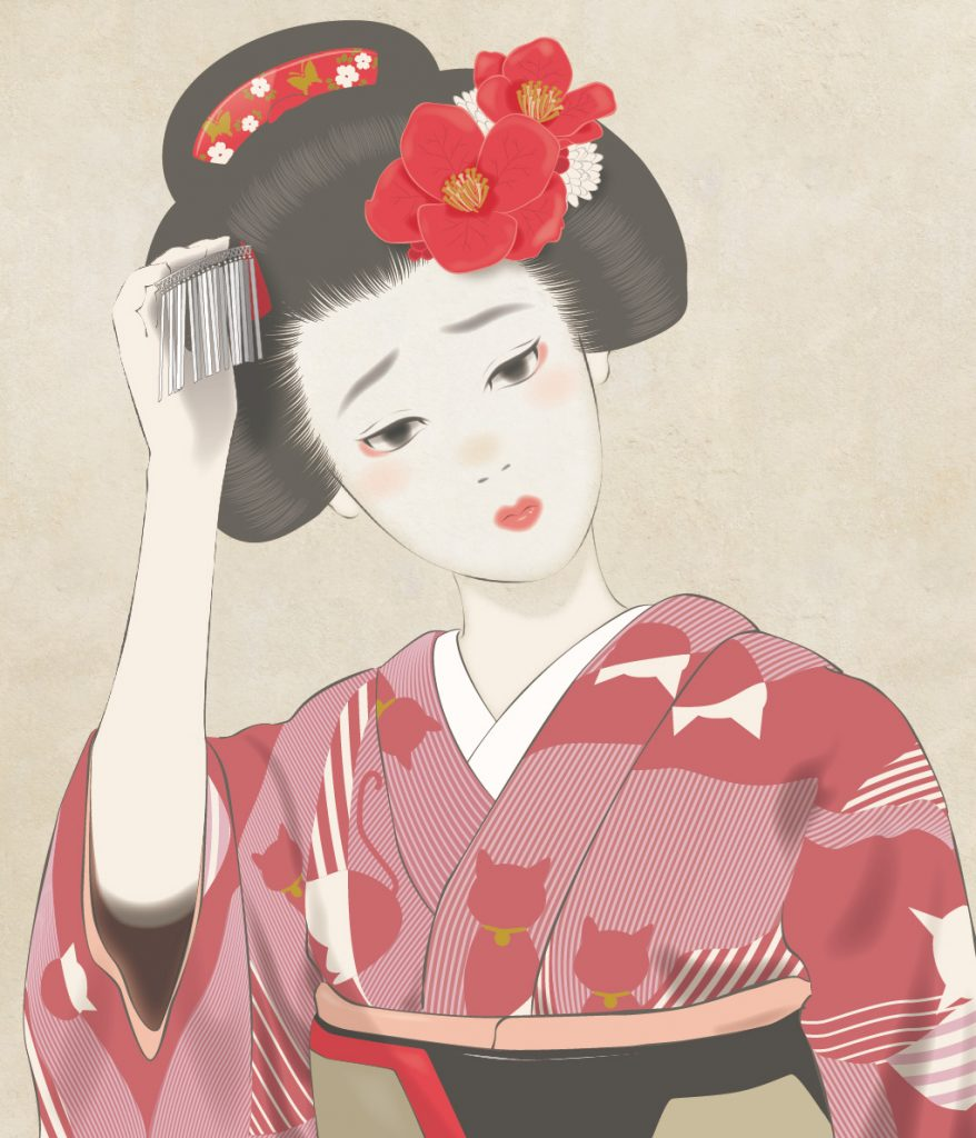 猫の着物 舞妓さん 簪 maiko cat kimono tetsuyakawakami  困った顔