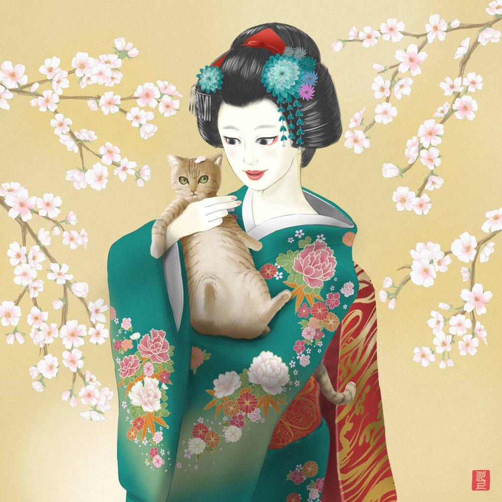 """Spring in Japan, Maiko and Cats"". 日本の春、舞妓と猫 Japanese Maiko Art Kawakami Tetsuya"