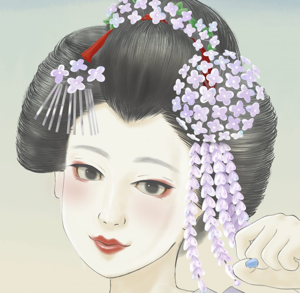 maikoart 芸者 舞妓 舞妓アート kawakamitetsuya 紫陽花 hydrangea 髪飾り