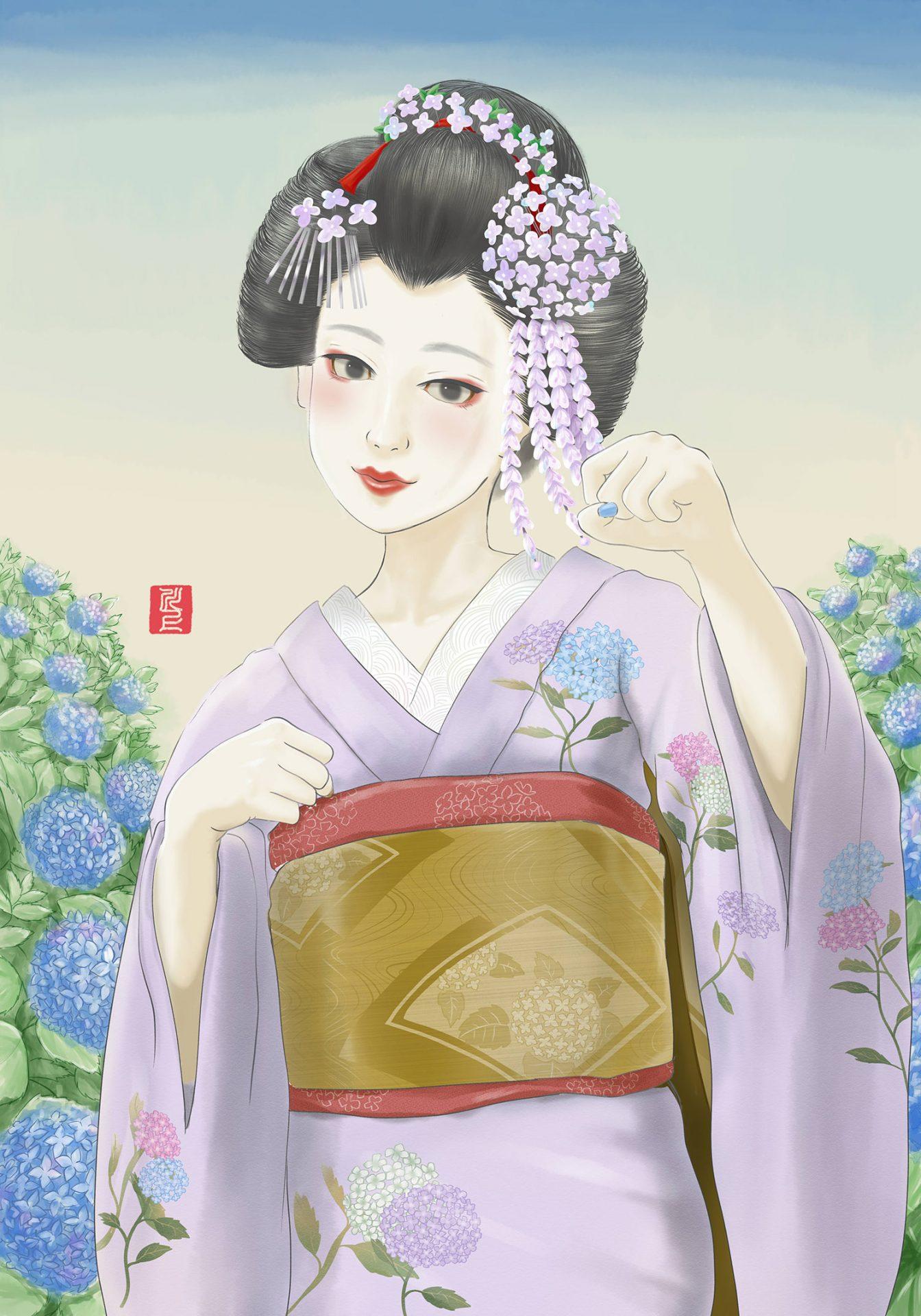 maikoart 芸者 舞妓 舞妓アート kawakamitetsuya 紫陽花 hydrangea