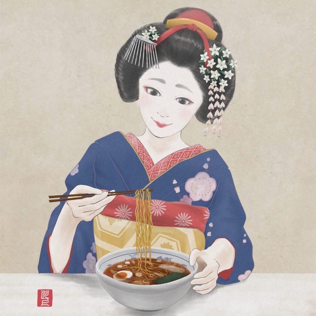 ラーメンを食べる舞妓さん  Maiko eating ramen Japanese Maiko Art Kawakami Tetsuya