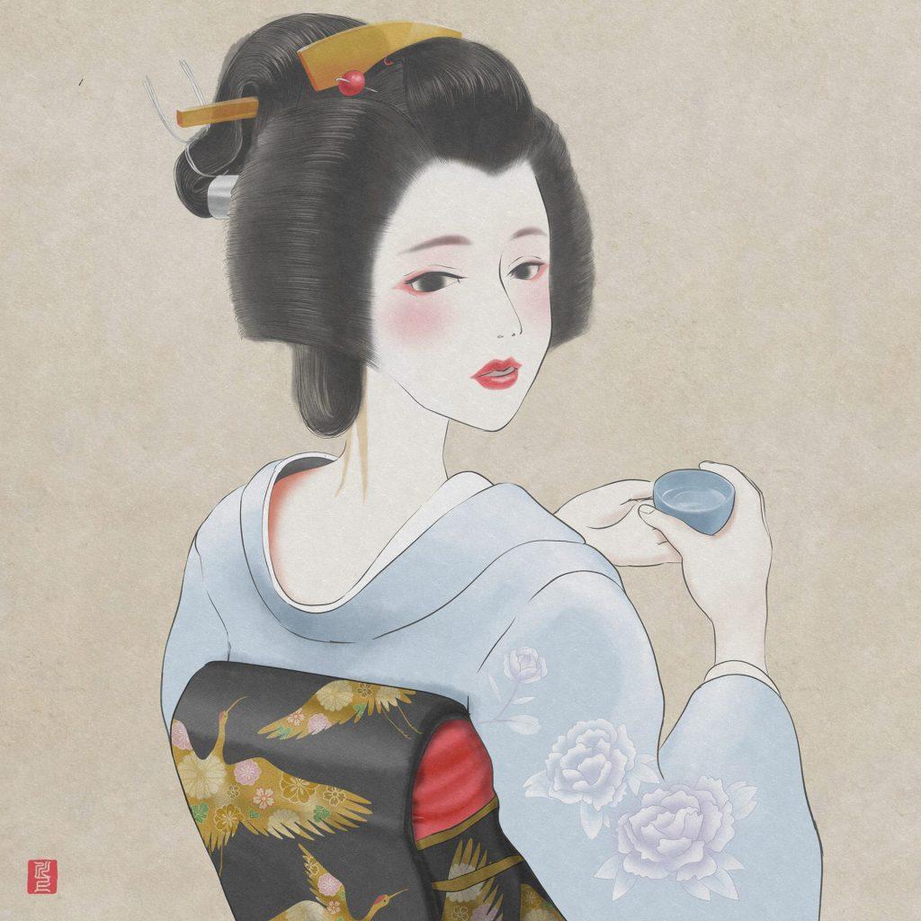 お酒を飲む芸妓さん Geiko who drinks sake Japanese Maiko Art Kawakami Tetsuya