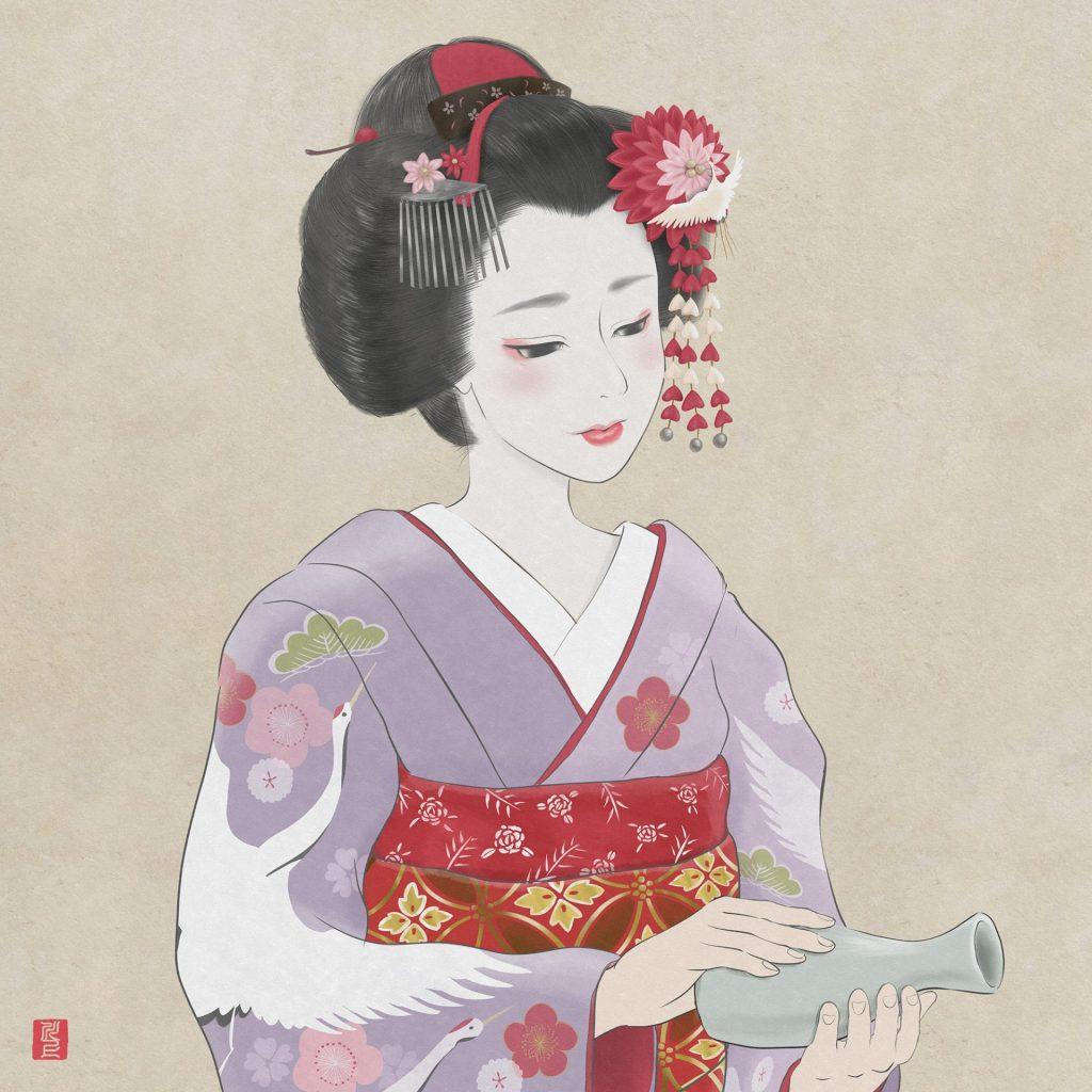 お酒を注ぐ舞妓さん Maiko pouring sake     Japanese Maiko Art Kawakami Tetsuya